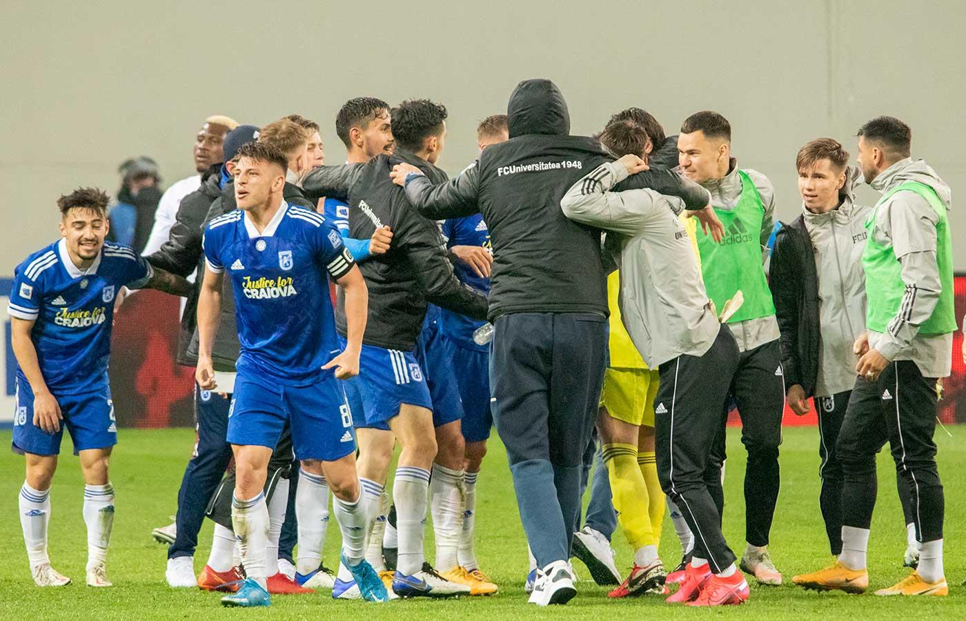 FCU - Rapid. Bucuria băieților la finalul meciului